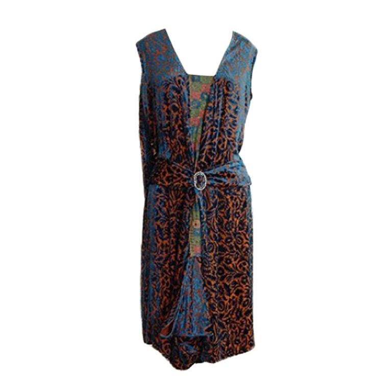 1920s Silk Devore Flapper Dress 1