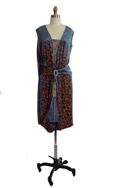 1920s Silk Devore Flapper Dress 10