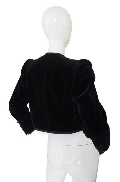 1970s Yves Saint Laurent Velvet Crop Jacket 2