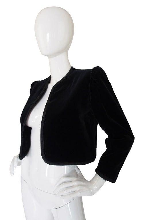 1970s Yves Saint Laurent Velvet Crop Jacket 3