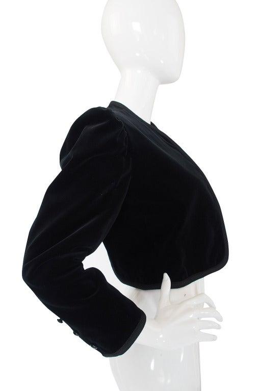 1970s Yves Saint Laurent Velvet Crop Jacket 4