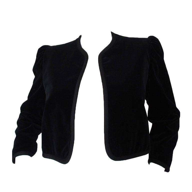 1970s Yves Saint Laurent Velvet Crop Jacket 1