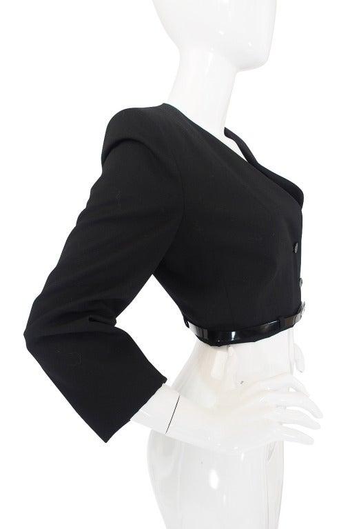 c2000 Chic Little Black Cropped Chanel Jacket & Belt 4