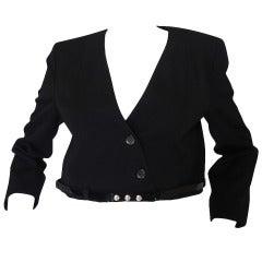 c2000 Chic Little Black Cropped Chanel Jacket & Belt