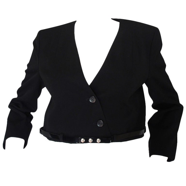 c2000 Chic Little Black Cropped Chanel Jacket & Belt 1