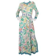 1970s Amazing Bessi Floral Maxi Dress