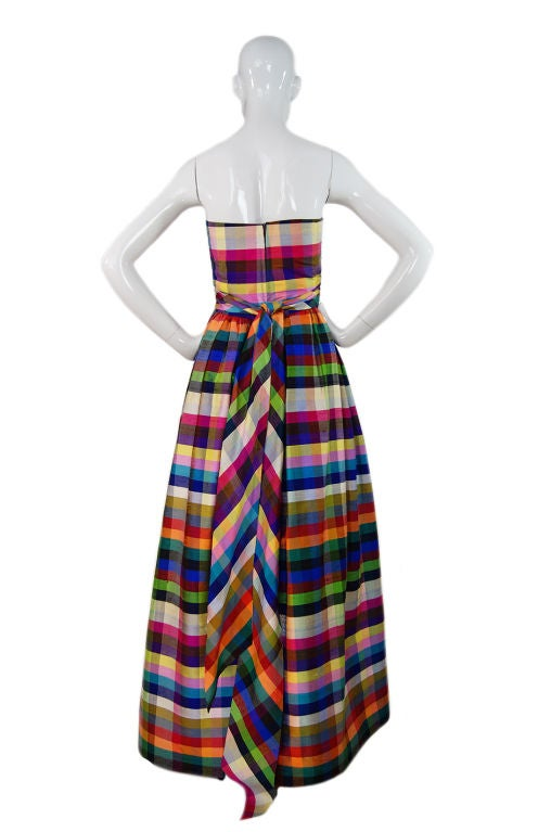 1970s Lanvin Attributed Plaid Gown 2