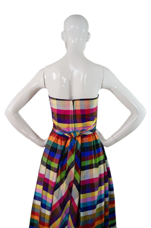 1970s Lanvin Attributed Plaid Gown 5