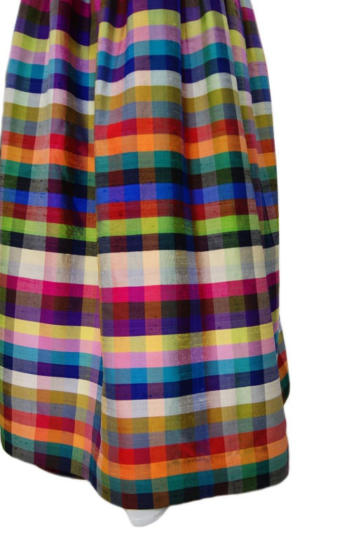 1970s Lanvin Attributed Plaid Gown 7