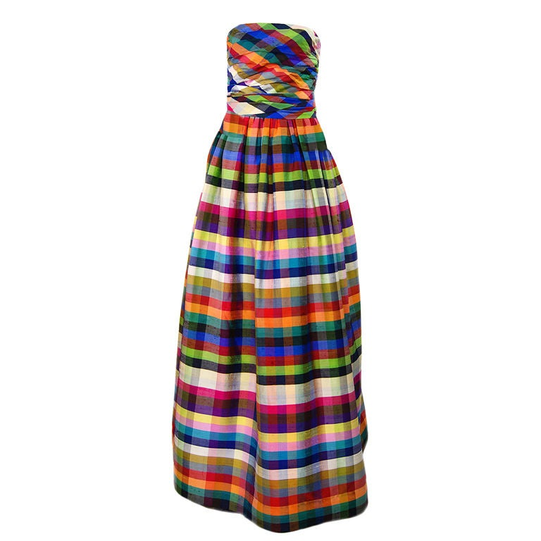 1970s Lanvin Attributed Plaid Gown 1