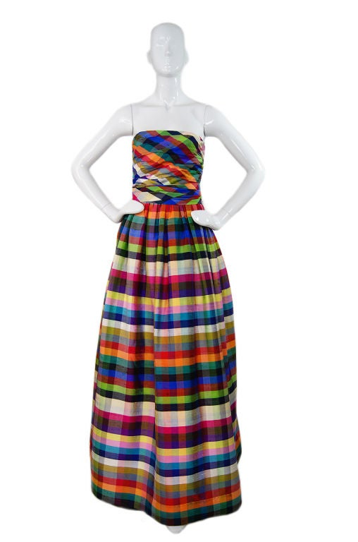 1970s Lanvin Attributed Plaid Gown 9