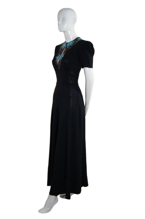 1940s Blue Glass Bead Crepe Gown 2