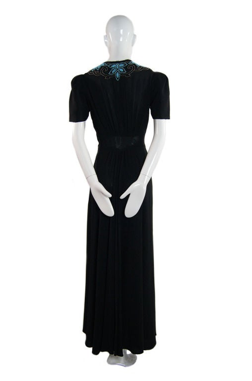 1940s Blue Glass Bead Crepe Gown 3
