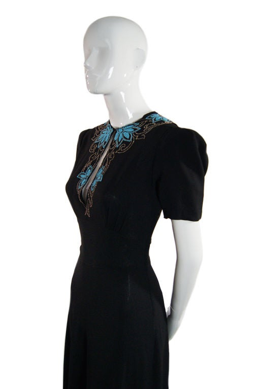 1940s Blue Glass Bead Crepe Gown 5