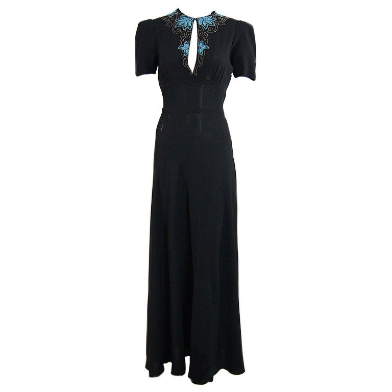 1940s Blue Glass Bead Crepe Gown 1
