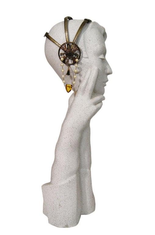 1920s Brass Tone Flapper Head Piece 4