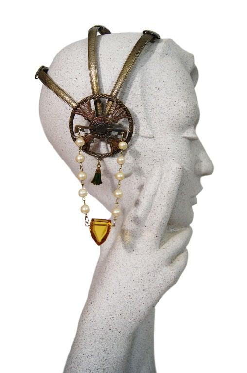 1920s Brass Tone Flapper Head Piece 5