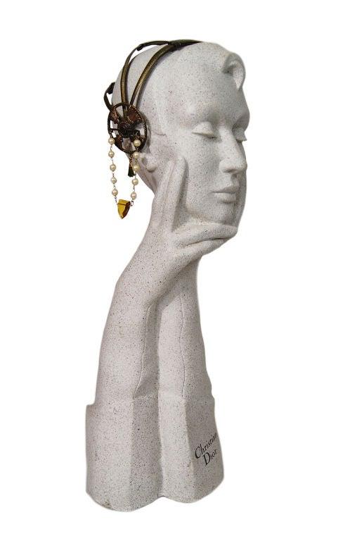 1920s Brass Tone Flapper Head Piece 7
