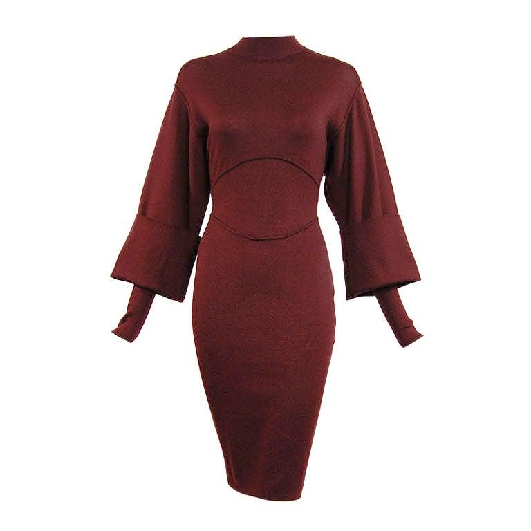 1990s Amazing Sleeved Alaia Knit Dress 1