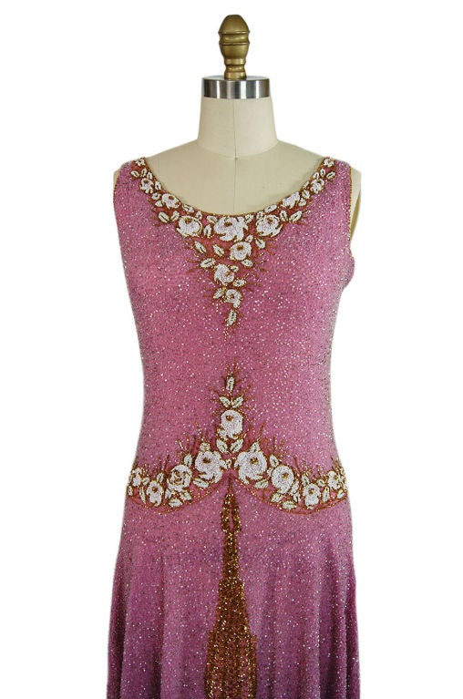 1920s French Label Fully Beaded Flapper Dress 5