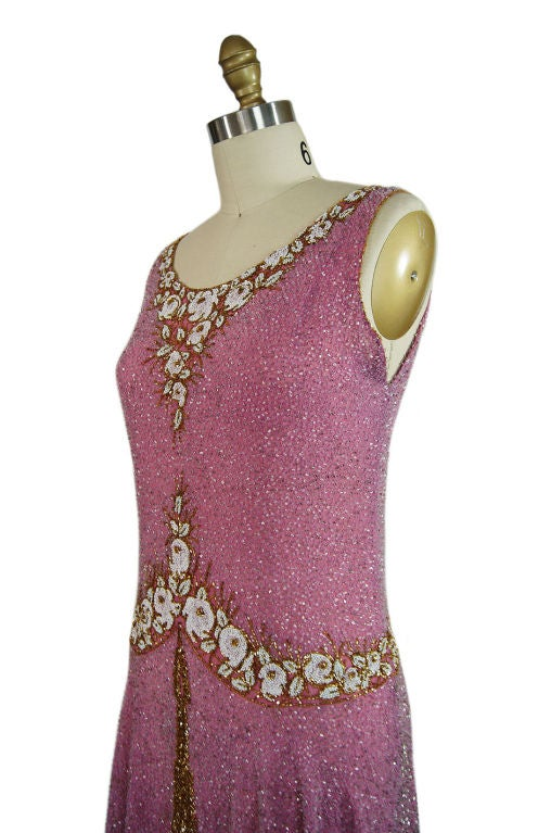 1920s French Label Fully Beaded Flapper Dress 6