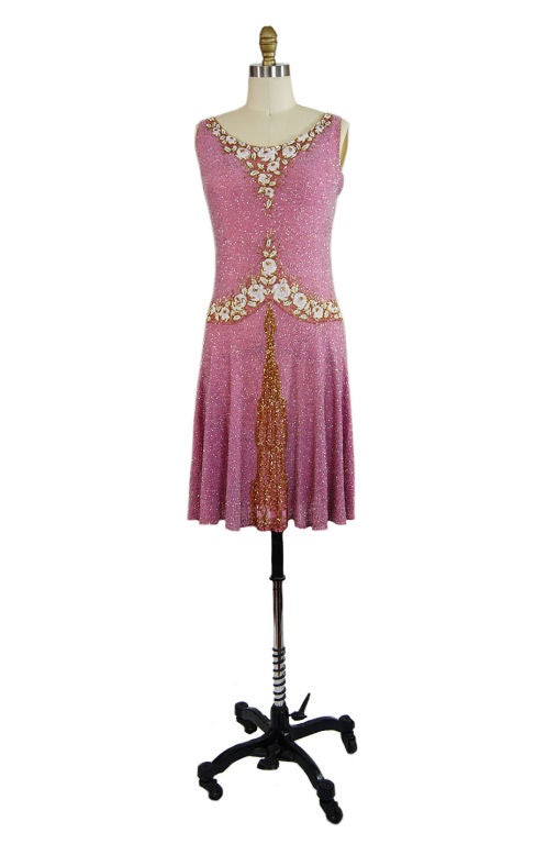 1920s French Label Fully Beaded Flapper Dress 9