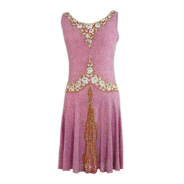 1920s French Label Fully Beaded Flapper Dress 1