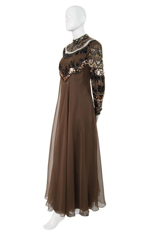 1960s Elaborate Beaded Chiffon Gown image 2