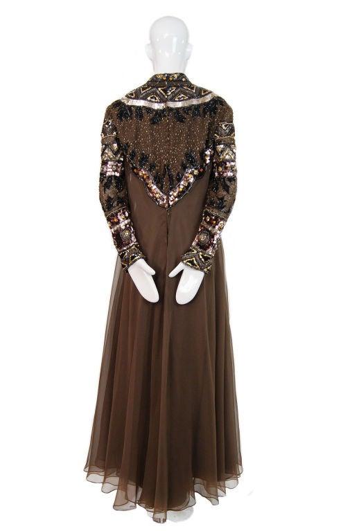 1960s Elaborate Beaded Chiffon Gown 3
