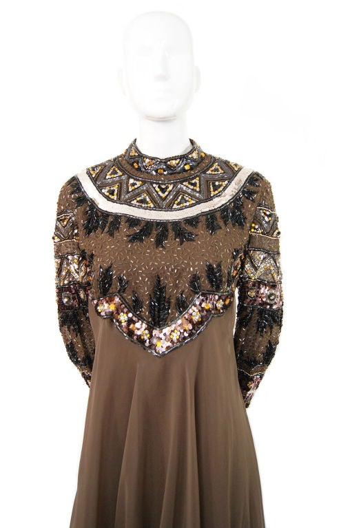 1960s Elaborate Beaded Chiffon Gown 4