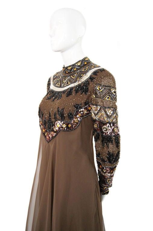 1960s Elaborate Beaded Chiffon Gown 5