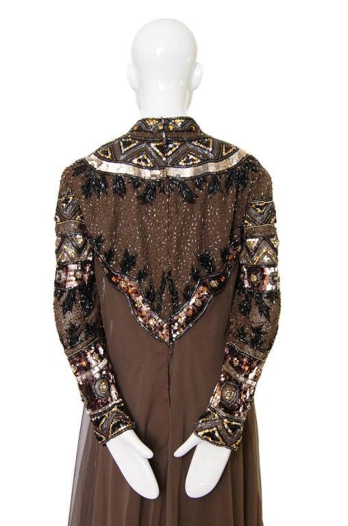 1960s Elaborate Beaded Chiffon Gown 6