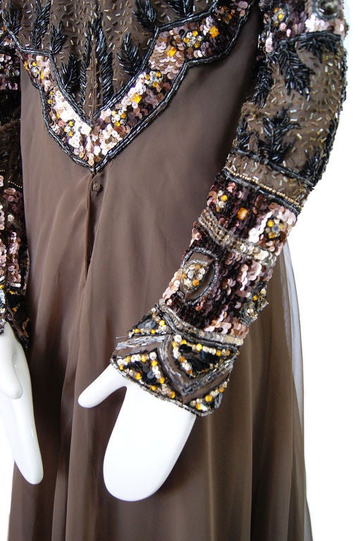 1960s Elaborate Beaded Chiffon Gown image 7