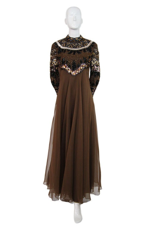 1960s Elaborate Beaded Chiffon Gown image 9