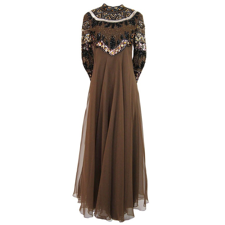 1960s Elaborate Beaded Chiffon Gown
