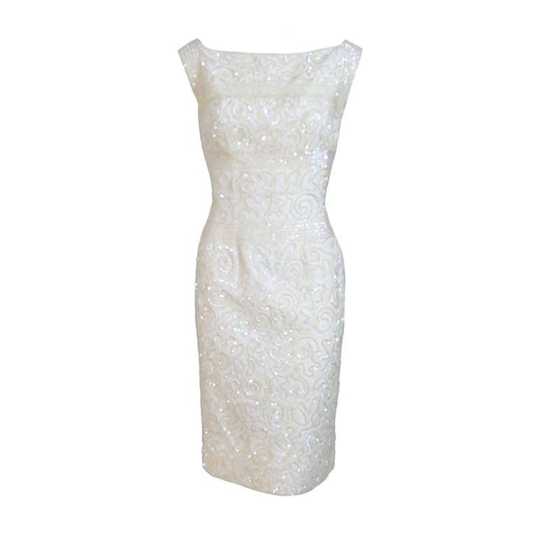 1950s Sequin Cream Alix Of Miami Dress 1