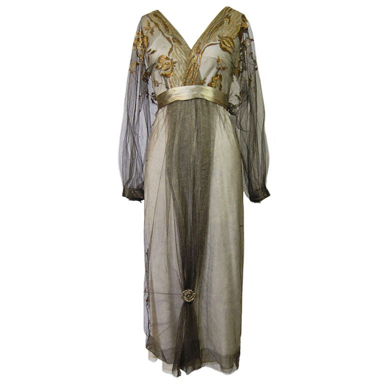 1890-Early 1900s Belle Epoque Tulle Lame