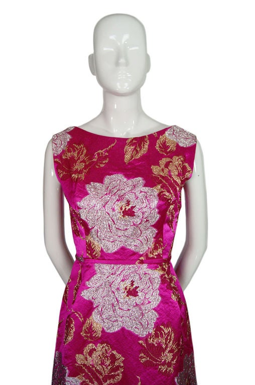 Women's 1960s Pink Silk Brocade Malcolm Starr For Sale