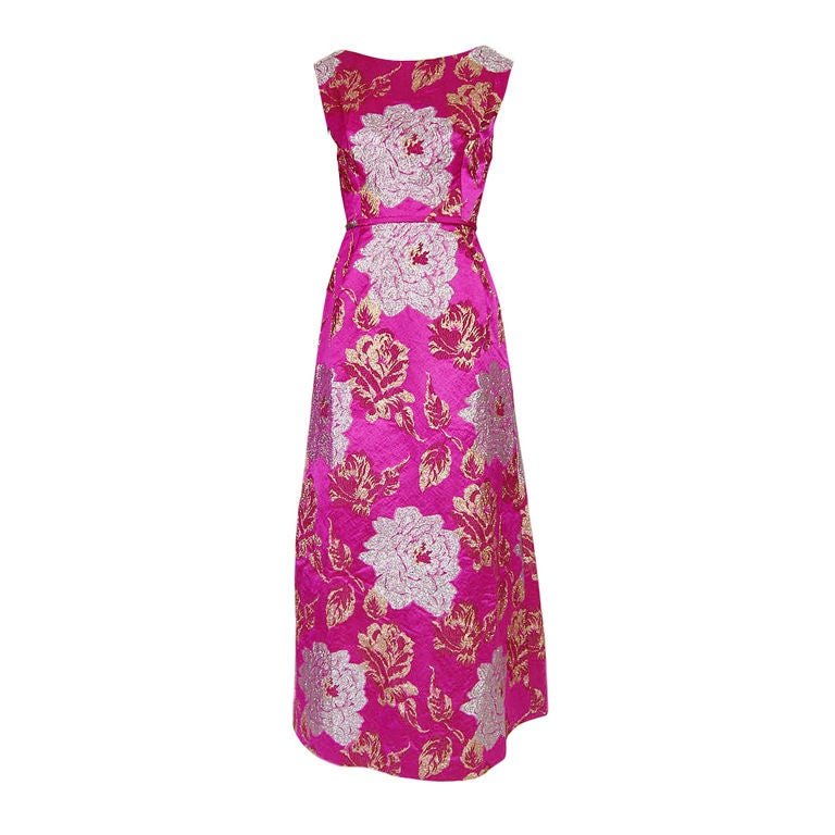 1960s Pink Silk Brocade Malcolm Starr For Sale