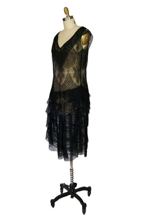 1920s Gossamer Chantilly Lace Flapper Dress 2