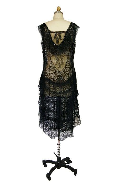 1920s Gossamer Chantilly Lace Flapper Dress 3