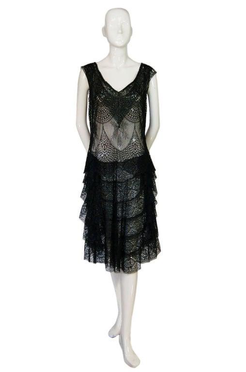1920s Gossamer Chantilly Lace Flapper Dress 4
