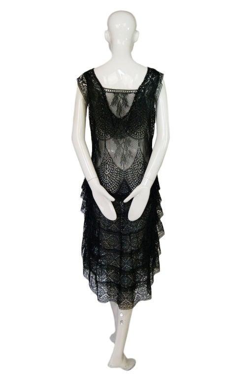 1920s Gossamer Chantilly Lace Flapper Dress 5