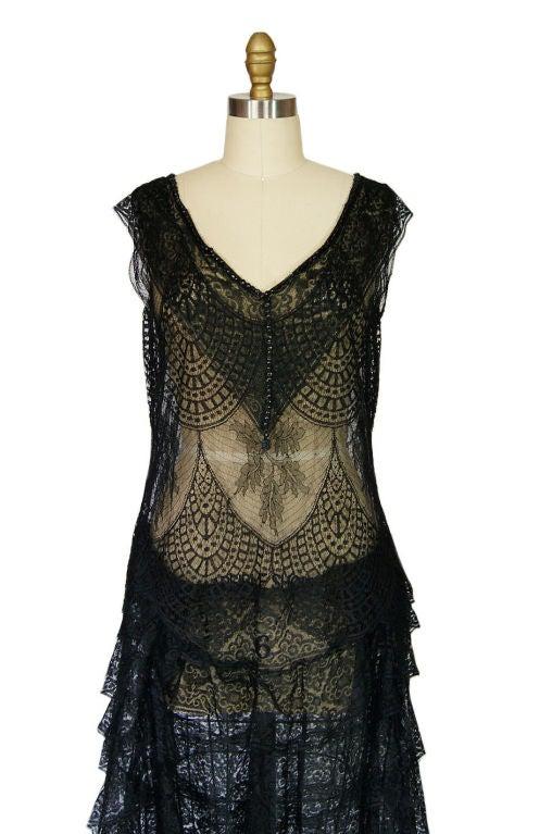 1920s Gossamer Chantilly Lace Flapper Dress 6