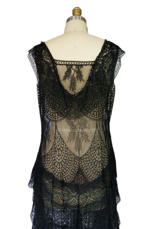 1920s Gossamer Chantilly Lace Flapper Dress 8