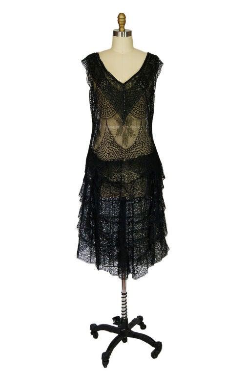 1920s Gossamer Chantilly Lace Flapper Dress 9