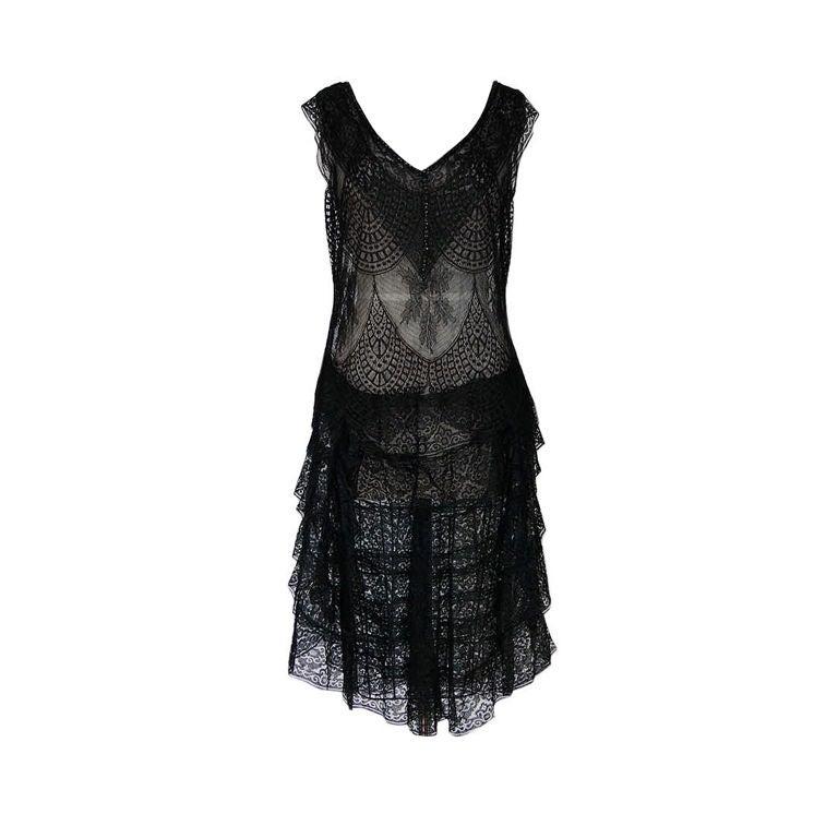 1920s Gossamer Chantilly Lace Flapper Dress 1