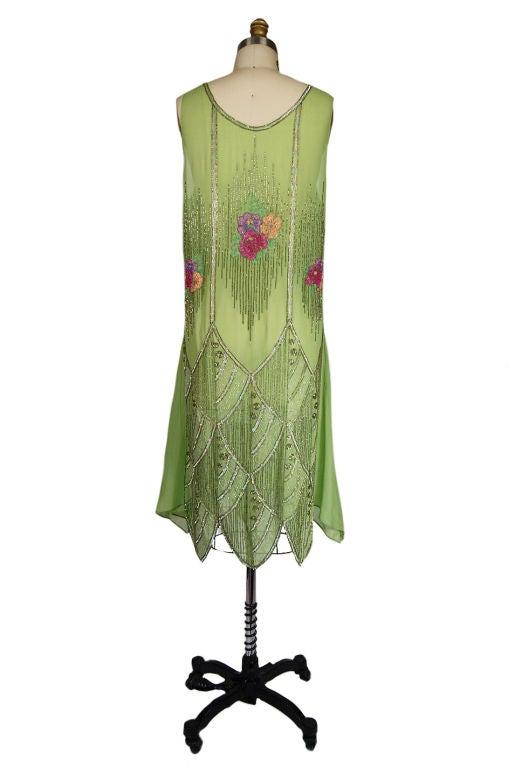 1920s Beaded Floral Green Flapper Dress 2