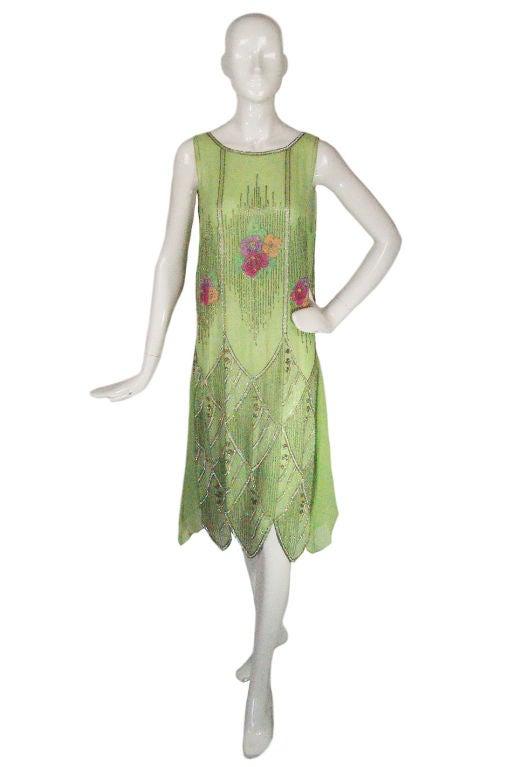 1920s Beaded Floral Green Flapper Dress 3