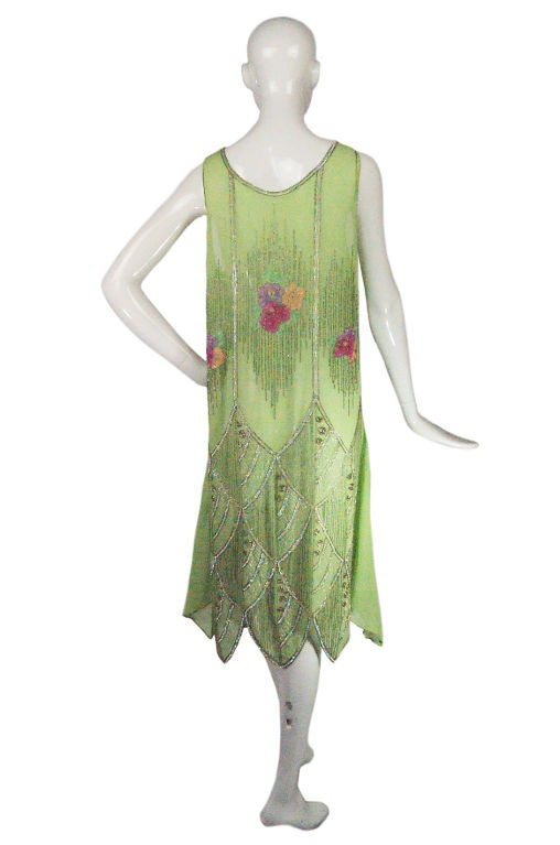 1920s Beaded Floral Green Flapper Dress 4